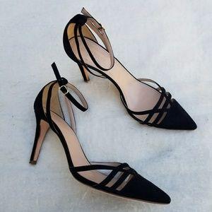 b38e52f7f9b J.crew leather pointy toe strappy heels size 8